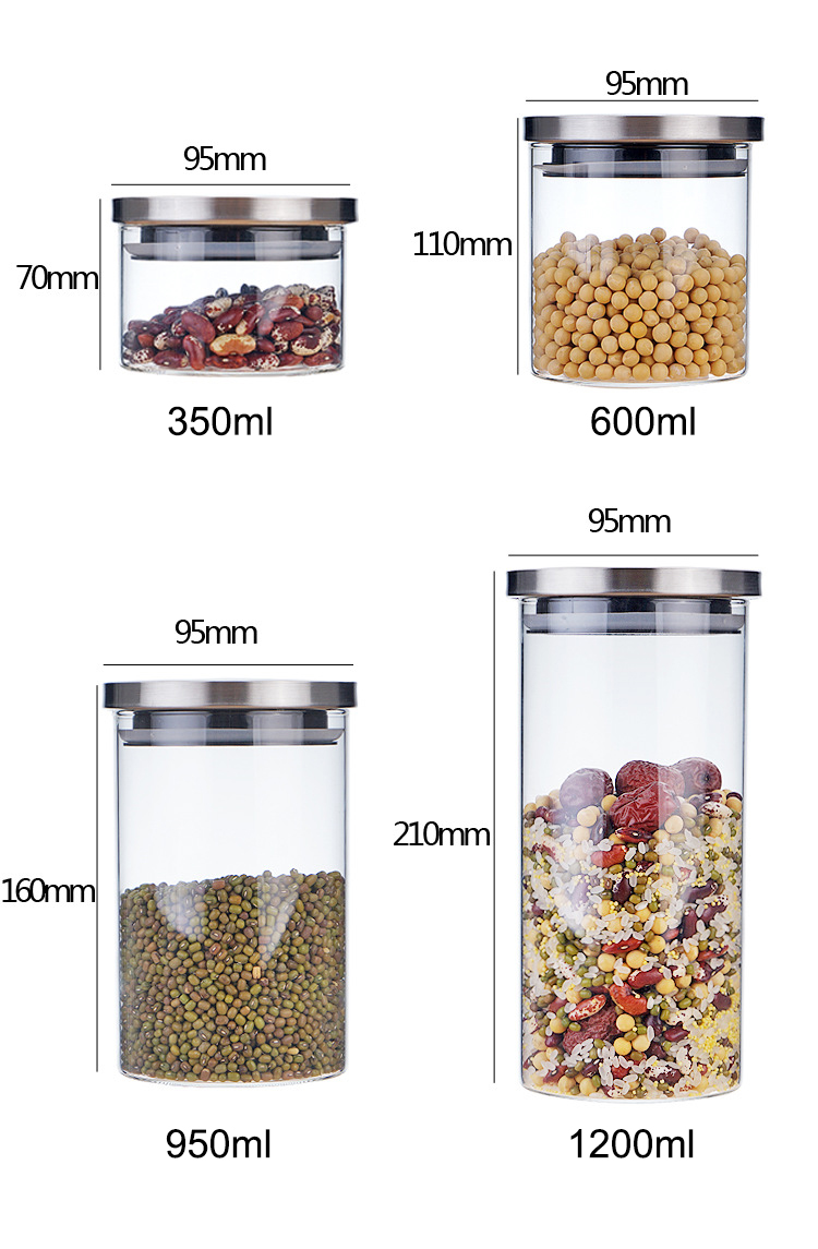 dia.85mm 95mm high borosilicate glass jar with stainless steel sealing lid (10)